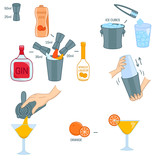 Paradise Cocktail recipe ingredients isolated vector colorful illustration - 195667944