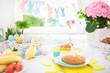 Easter morning breakfast. Eggs decor table setting