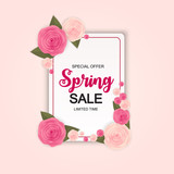 Spring Sale Cute Background with Flowers. Vector Illustration