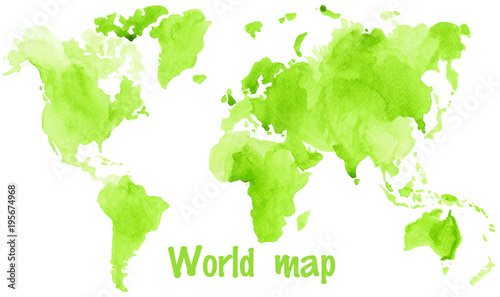 Watercolor illustration of world global map painted in green ink - 195674968