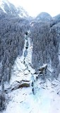 Krimml Waterfall Austria in winter aerial