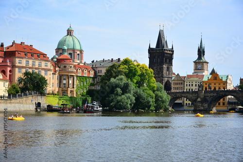 Charles Bridge summer view. Prague, Czech. Cityscape.
