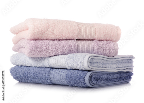 A stack of towels pink blue