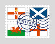 England, northern ireland, scotland and wales flags on postage stamps