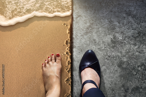 Foto Murales Life Balance concept for Work and Travel present in Top view position by half of Business Working Woman Shoes on Cement Floor and Female's Barefoot on Sand Beach
