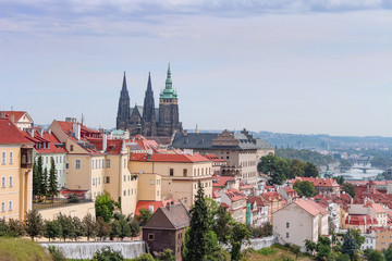 The Prague landscape of the old city in the early morning. Prague is a cityscapes. Czech Republic.