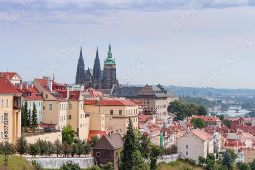 Staande foto Praag The Prague landscape of the old city in the early morning. Prague is a cityscapes. Czech Republic.