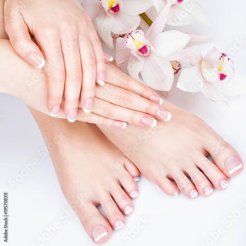 Fotobehang Pedicure female feet at spa salon on pedicure and manicure procedure