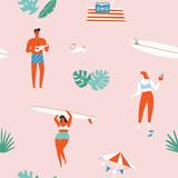 Summer time beach fun seamless pattern in vector. - 195714375