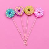 Fashion Lolipop Donuts. Pink Candy Minimal Flatlay art. - 195714760