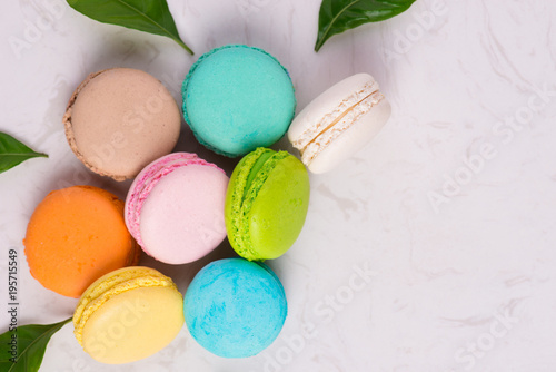 Macaroons dessert. Traditional french colorful macarons Poster