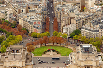 Trocadero gardens in Paris, France. Aerial view from Eiffel Tower