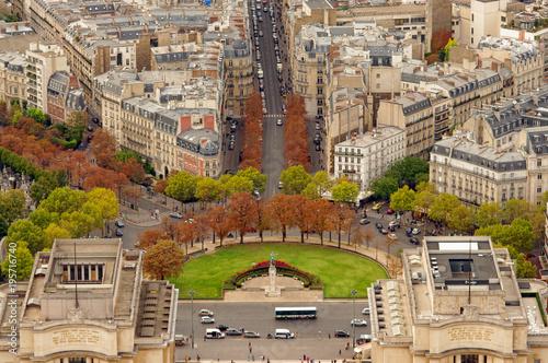 Fridge magnet Trocadero gardens in Paris, France. Aerial view from Eiffel Tower