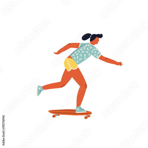 Aluminium Skateboard Girl skateboarder ride a skateboard poster with inspirational text quote in vector