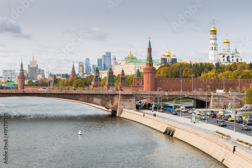 Foto op Canvas Moskou Kremlin, Embankment of Moscow River in Moscow, Russia