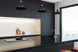 Minimalistic kitchen studio interior - 195719925