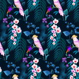 Tropical seamless pattern with cockatoo parrots.