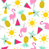 Summer seamless pattern with cute objects. Vector hand drawn illustration. - 195723760