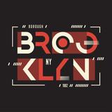 Broolklyn vector t-shirt and apparel geometric design, typograph - 195725365