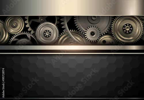 Elegant background, gold and black with gears inside