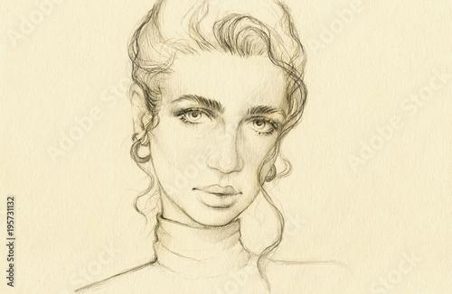 Aluminium Anna I. beautiful woman. fashion illustration.