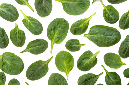 Spinach pattern background on white. Top view - 195732755