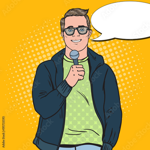 Fototapeta Pop Art Handsome Man with Microphone. Male TV Reporter. Vector illustration