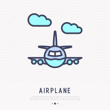 Airplane thin line icon, front view. Modern vector illustration of public transportation.