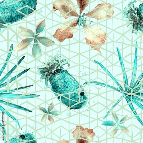 Cotton fabric Exotic geometry seamless pattern.