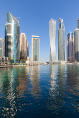 Dubai Marina skyline at beautiful morning