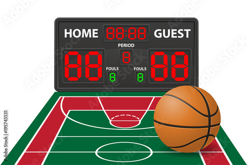 basketball sports digital scoreboard vector illustration