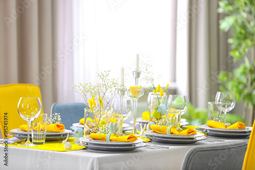 Beautiful Easter table setting with decorations - 195745974