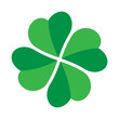 Shamrock - green four leaf clover icon. Good luck theme design element. Simple twisted shape vector illustration.
