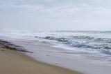 Paysage marin sauvage, une vague de mousse roulant sur la rive