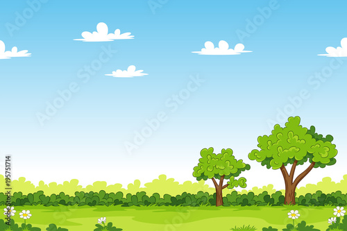 Aluminium Blauw Cartoon summer landscape with trees