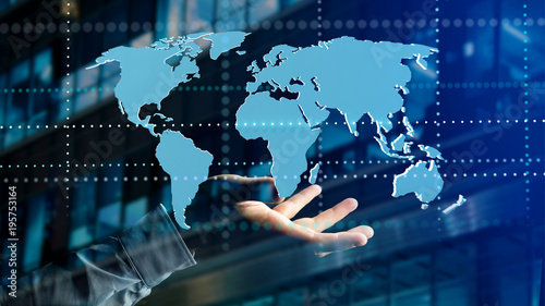Fototapeta Businessman holding a Connected world map on a futuristic interface - 3d render
