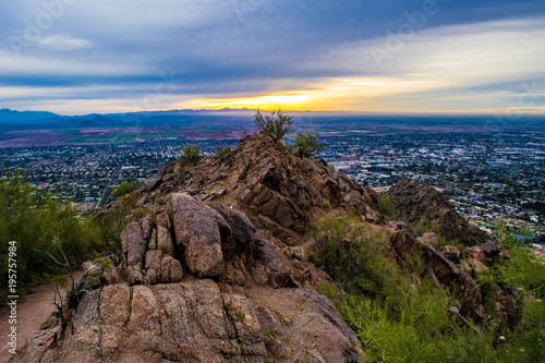 Foto op Canvas Diepbruine Sunrise on Camelback Mountain in Phoenix, Arizona