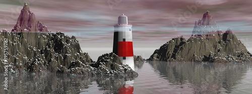 Fotobehang Lavendel Lighthouse on the sea under sky - 3d rendering
