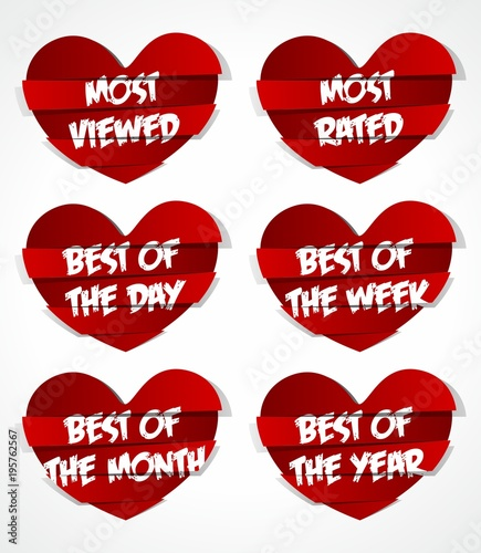 Diferent Best Of Red Abstract Heart Sticker vector illustration © nicolas