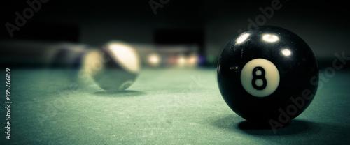 Foto op Aluminium Bol Pool game. Billiard balls on green table