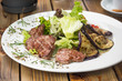 beef medallions with grilled vegetables - 195768791