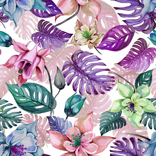 Beautiful aquilegia columbine flowers and exotic monstera leaves on white background. Watercolor painting. Tropical seamless floral pattern. © katiko2016