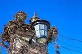close up old street light in Tomar Portugal .