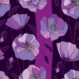 Vector seamless pattern with outline lilac Poppy flower, bud and leaves on the purple background. Floral background with ornate poppies in contour style for summer design.