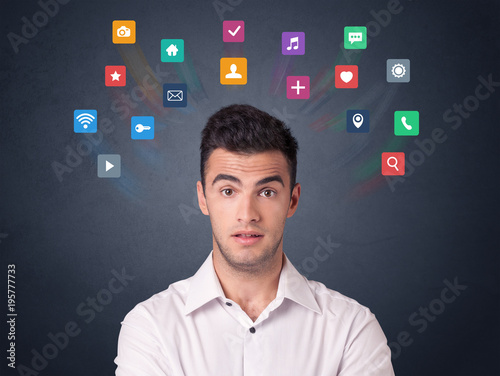 Businessman with colorful apps