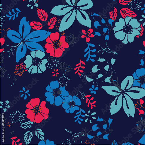 beautiful floral bouquet. watercolor floral pattern, Ditsy floral background. - 195779172
