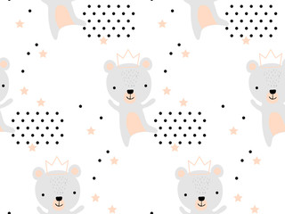 Seamless pattern with cute bear princess in crown. Creative childish texture. Great for fabric, textile Vector Illustration. Perfect for wallpaper, pattern fill, web page background, surface textures © Katsiaryna
