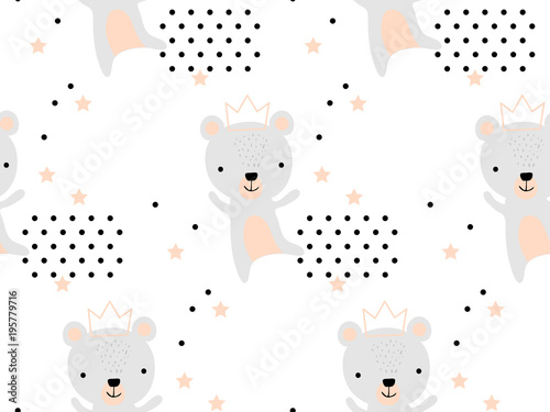 Seamless pattern with cute bear princess in crown. Creative childish texture. Great for fabric, textile Vector Illustration. Perfect for wallpaper, pattern fill, web page background, surface textures - 195779716