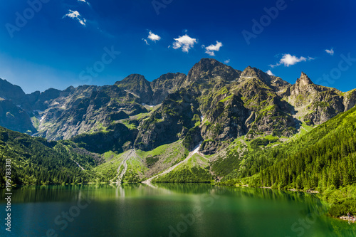 Famous big pond in the Tatra mountains at sunrise, Poland
