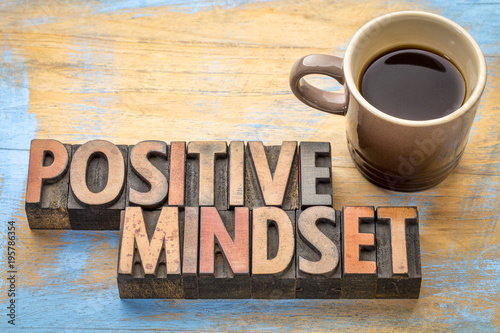 Papiers peints Positive Typography positive mindset - word abstract in wood type
